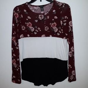 Colorblock and floral blouse